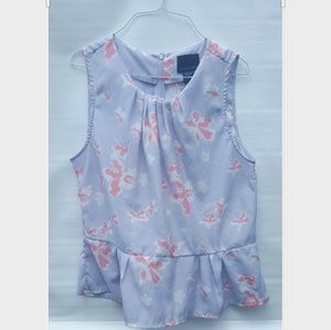 Cynthia Rowley Floral Periwinkle and Pink Tank Top